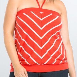 Torrid 0X Tube Top Red White Stripe Halter Shirt
